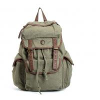 China Vintage Canvas Leather Backpack School Bag Satchel For Outdoor Hiking / Climbing on sale