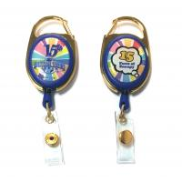 Quality Epoxy Logo Dome Oval Custom Retractable Badge Reels , Badge Reel Clips for sale