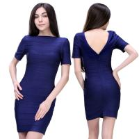 Quality Wholesale/retail simple design elegant short sleeve royalblue short high elastic tight party dresses for sale