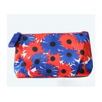 Quality Velvet Travel Toiletry Bag / Custom Embroidered Makeup Bags Beautiful Flower Pattern for sale