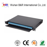 Quality 48 Cores 1U Rack Mount Fiber Patch Panel With LC Adapters for sale