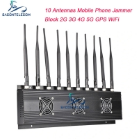 Quality 10 Antennas 4G 5G Mobile Phone Signal Jammer VHF UHF Blocker 24 Hours Working for sale