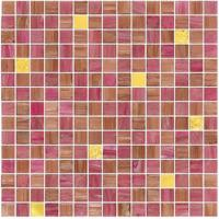 Quality Pink color with real gold waving tile 20mm glass mosaic mix patter decoration for sale