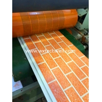 Quality Embossed Brick Pattern Exterior Decorative Metal Wall Cladding Panel Production Line for sale