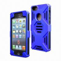 Quality Cellphone Cases for iPhone 5, Made of Inner Silicone + Outer PC, 3-in-1 Combo for sale