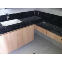 Quality Nero Marquan Rectangle Sink Marble Slab Countertop For Kitchen Eased Edge for sale