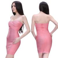 Quality latest fashion pretty hot pink strapless short bodycon bandage bridesmaid dress for sale