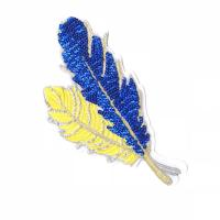 China Simple Style Sequin Applique Patches , Leaves Sequin Patches For Clothes on sale