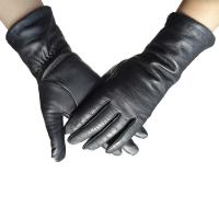 China Real Sheepskin Womens Soft Leather Gloves Fashion Plain Style Black Color on sale