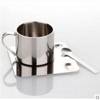 China double wall stainless steel temp keeping coffee/tea cup with saucer on sale