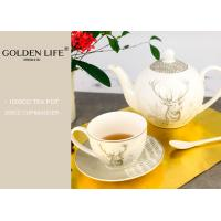 Quality Porcelain Tea Coffee Set Saucer Decal Technology With X Mas Elk Design Printing for sale