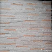 Quality White And Pink Quartzite Stone Veneer With Machine Cut Edges Split Surface for sale