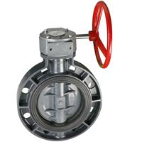 Worm actuated wafer type butterfly valve