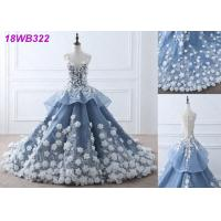 Quality 3D Flowers Crystal Grey Wedding Gown / Luxury See Through Lace Bridal Gowns for sale