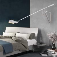 Quality Art Decor LED Wall Mounted Bedside Light White Black Adjustable Long Arm Plug in Wall lamp (WH-OR-04) for sale