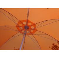 Quality 36 Inch Orange Beach Umbrella Round Shaped With Aluminum Umbrella Handle for sale