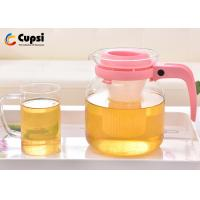 China Pink Color 34Oz -1000ml Heat Resistant Glass Teapot With Plastic Handle on sale