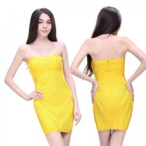 Quality latest fashion pretty light yellow strapless short bodycon bandage bridesmaid dress for sale