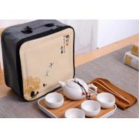 Quality 8Pcs Travel Ceramic Teapot Set , Ceramic Cup Set With Travle Bag Packing for sale