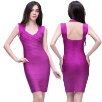 Quality 2014 new arrival hot sale elegant purple boat neck slim fitted ladies evening bandage dress for sale