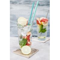 Quality 19.7 Cm Kraft Spiral Blue And White Paper Straws Environmental Protection for sale