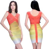 Quality Hottest fashion ladies summer crossover two tone short bodycon bandage dress for sale