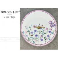 Quality Tidbit Snack Dish Painted Fruit Plates Purple Flowers Pattern With Brass Handle for sale