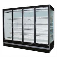 Quality 3.75M Vertical Remote Multideck Fridge , Commercial Glass Door Refrigerator for sale