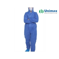 Quality One Piece 50g Blue Disposable Coveralls With Hood for sale