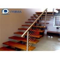 Quality Narrow Space Used Straight Staircase/Wood Steps Cable Metal Railing for sale