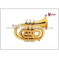 China Mini Brass Musical Instruments Bb Key Pocket Trumpet / Student Model Trumpet HTP8504G wholesale
