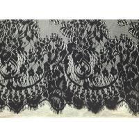 """Quality Black Width 60"""" Nylon Embroidered Eyelash Lace Trim with Knitted / Jacquard for sale"""