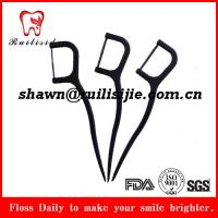 Quality manufacture supplies eco-friendly bamboo charcoal dental floss pick 30pcs per zipper bag for sale
