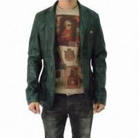 China Men's Leather Jacket with Button Closure and Two Symmetric Pockets at Front, Cool and Comfortable on sale