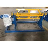 Quality 1m Width Electric Sheet Metal Decoiler Blue Yellow Color 450 - 600mm Inner Diameter for sale