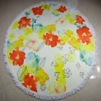 Buy cheap reactive custom printing cotton terry velour round beach towels circular beach towels from wholesalers