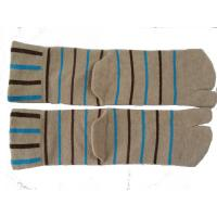 Quality OEM Autumn Light Brown Pure Cotton Knitted Two Toe Socks, Couple Socks With Black + Blue Stripe for sale