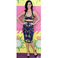 Quality Tropical Printed Two Piece Bandage Dress Knee Length For Girls for sale