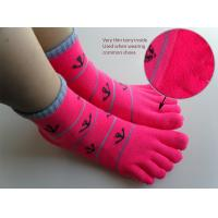 Quality Spring / Summer Sweat Absorbent Cotton Red Five Toes Terry Loop Socks For Ladies / Girls for sale