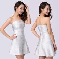Quality Delicate tailoring mature ladies silver strapless short tight party bandage dress for sale