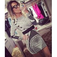 Quality Sexy Foil Print Bodycon Dress Long Sleeve For Party / Club / Celebrity for sale