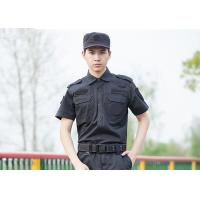 Quality Polyester Cotton Cool Security Uniform Shirts Short Sleeve With Plain Dyed Technic for sale