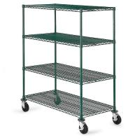 Quality Green Epoxy Metal Commercial Wire Shelving 4 - Tier Mobile Adjustable for sale