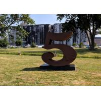 Quality Number 5 Garden Decor Corten Steel Sculpture For Outdoor , Corrosion Stability for sale