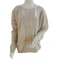 China Womens fashionable clothing , ladies pullover sweaters with center front cable designs on sale
