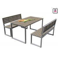 China Plastic Wood Outdoor Restaurant Tables Commercial KD Patio Dining SetsWith Bench on sale