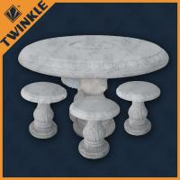 Quality Elegant White Marble Garden Ornaments With Round Marble Table For Home for sale