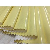 China Yellow Color 0.4mm - 0.5mm Pu Synthetic Leather For Ladies Raincoat / Light Jacket on sale