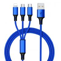 China Hot Sale Charging USB Cable 3 In 1 multi-use for Iphone & Micro Usb & Type c Nylon Braided on sale