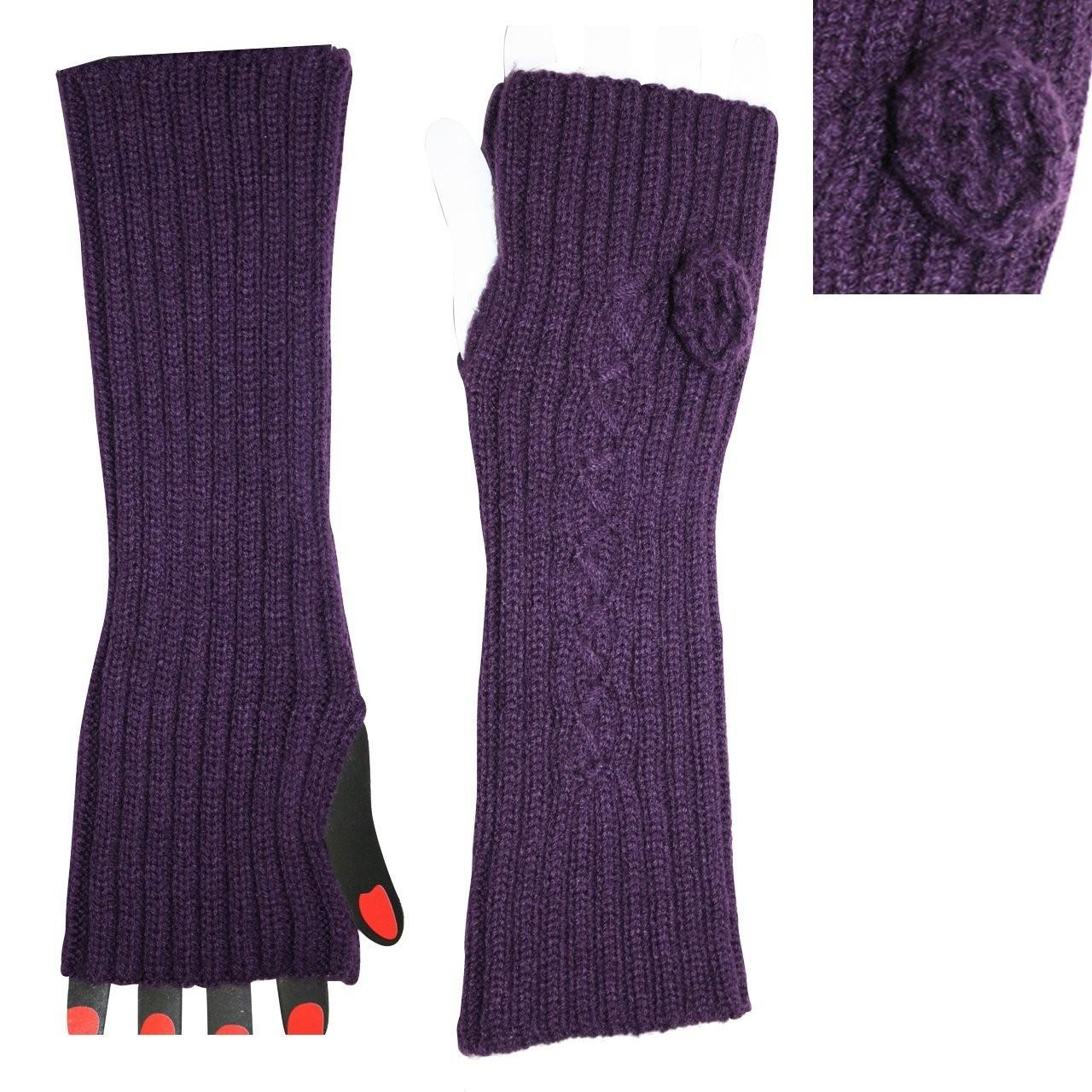 Quality Custom Made Eco-friendly Acrylic Purple Knitted Arm Warmer For Women / Girls with Competitive Price for sale
